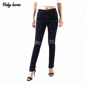 Womens ripped holes sexy elastic waist legging denim jeans trousers with bead