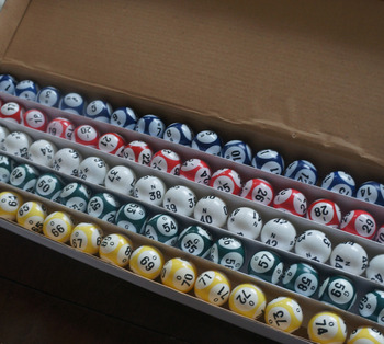 Bingo Balls - Top Quality Clear Coated 38MM - 5 Solid Color 6 Number