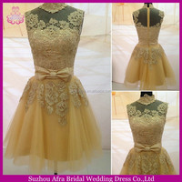 SW1171 cheap gold lace cute high neck short homecoming dress with bow sash
