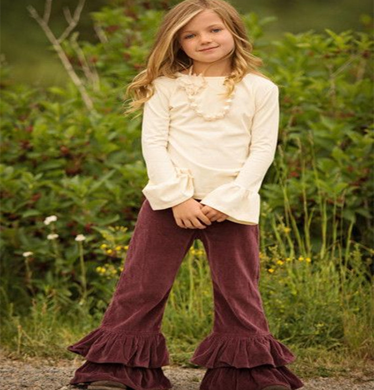 Blank top Red wine pants knit cotton children outfits wholesale spring fall boutique teen girls clothing