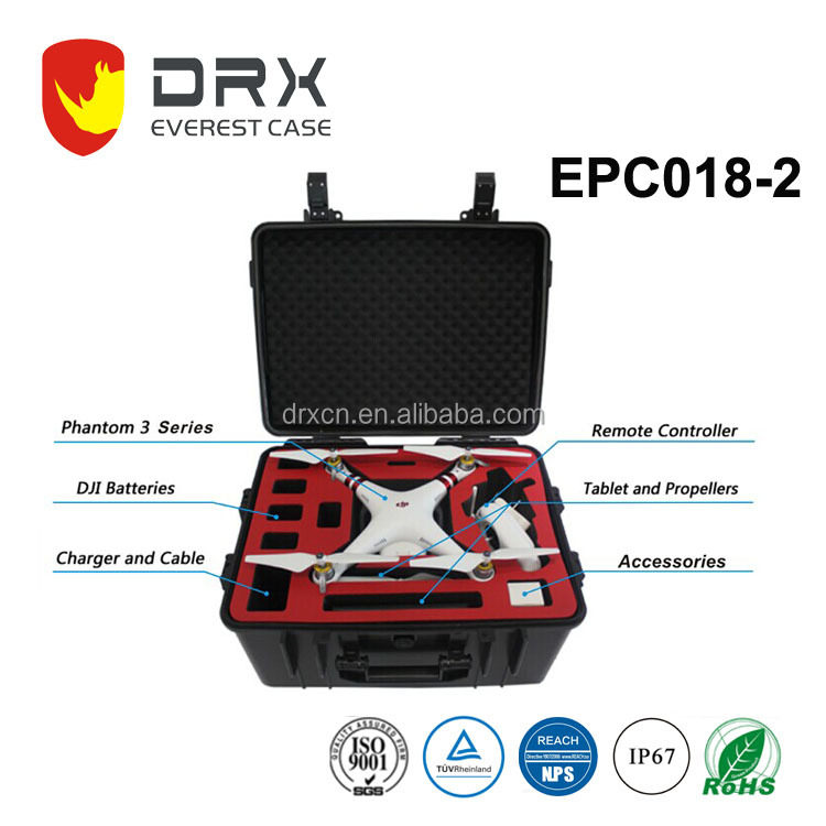 Waterproof plastic dji phantom 3 equipment case with foam insert