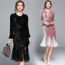 Women Long Sleeve Mesh Insert Velvet Mermaid Evening Dress