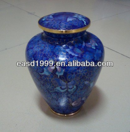 Wholesale China Nice Blue Butterfly Floral in Metal Cloisonne Adult Cremation Urns Jar for Ashes (Item No.P771)