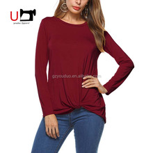 New Designs Round Neck Long Sleeve Knot Plain Casual T shirt Design For Women