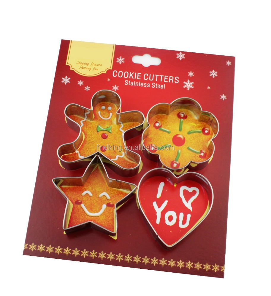 4-pcs star flower heart-shaped cute stainless steel cookie cutter set/cake cutter/christmas gift special gift