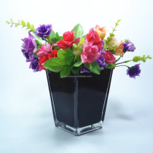 Home fashion square black and white glass square cylinder vase