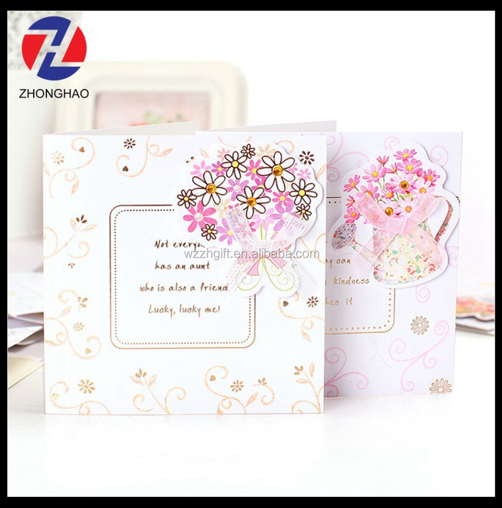 new arrived wholesale craft 3D elegant with ribbon fancy decorative paper lucky card