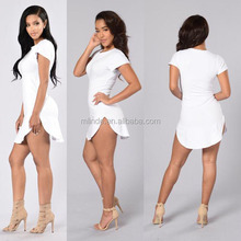 Women Short Sleeve Boat Neck Long Tee Slim Cut Side Slit 95%Cotton 5% Spandex Simple White T-shirt Sexy Mini Dress