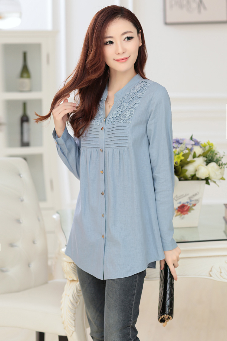 New Style Korean Fashion Long Sleeves Blouse Ladies Long Blouse ...