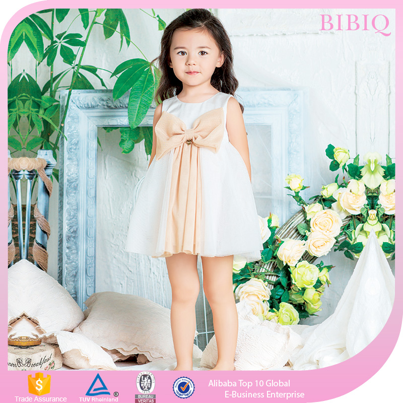 Children Frocks Designs Top Quality Big Bowknot Baby Dress Design