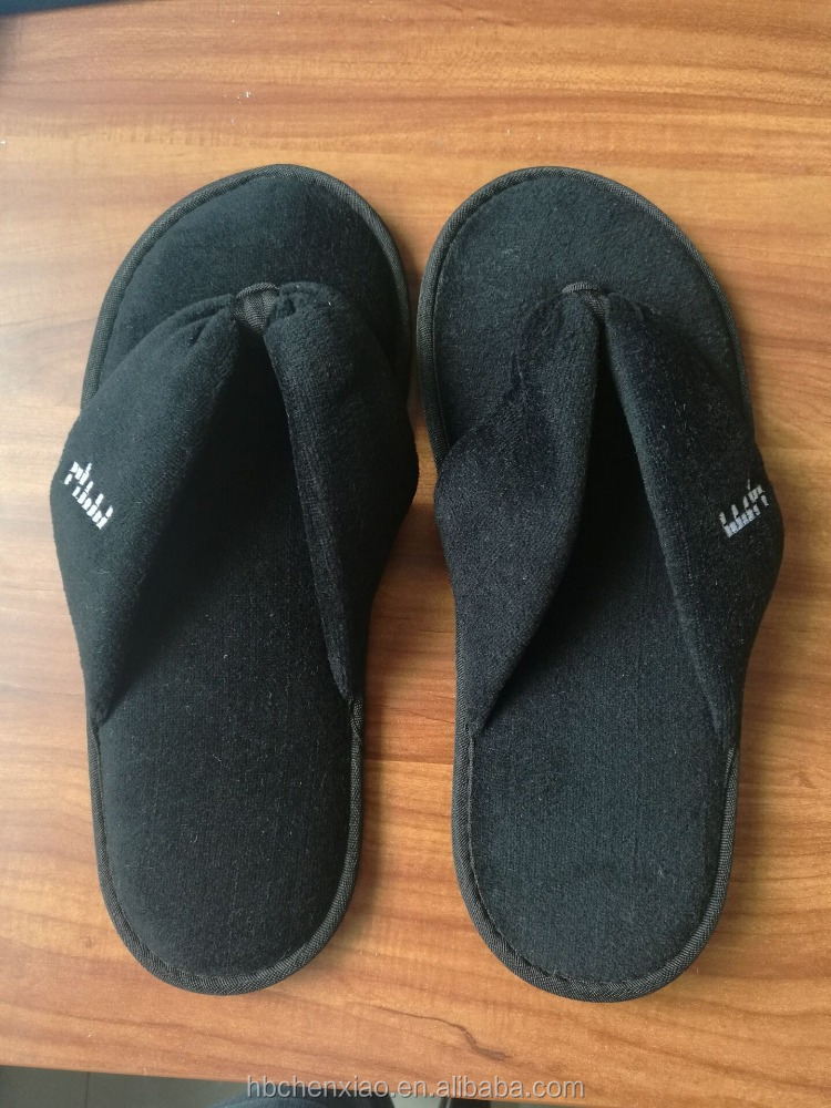 2016 Cotton Black terry thong bedroom slippers