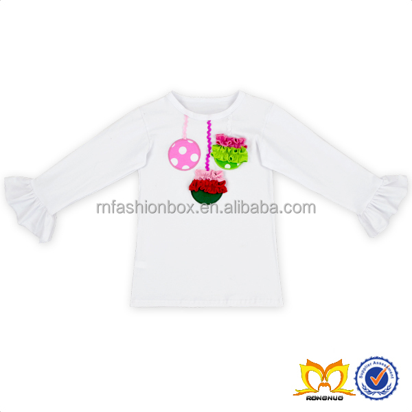 Fancy Thanksgiving Day Pure White 100% Cotton Ruffle Long Sleeve Top With Beautiful Design For Baby Girl Clothing