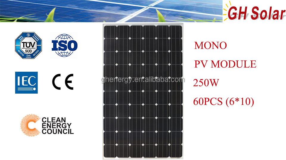 250W high cell efficiencies solar power system home inverter PV module 0.25KW on house roof