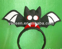 halloween festival black fabric headband with bat pattern for women