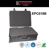 waterproof tool box plastic equipment case for Tools Packaging with pre-cutted foam insert with wheels