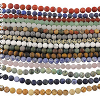 SB6547 natural gem stone matte frosted gemstone stone Beads,round dull polished stone beads for bracelet necklace jewelry making