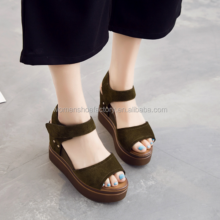 latest genuine leather casual comfort China wholesale sandals water platform wedges