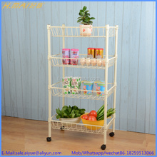 WHITE FRUIT VEGETABLE RACK STORAGE STAND WITH WHEELS CART TROLLEY KITCHEN