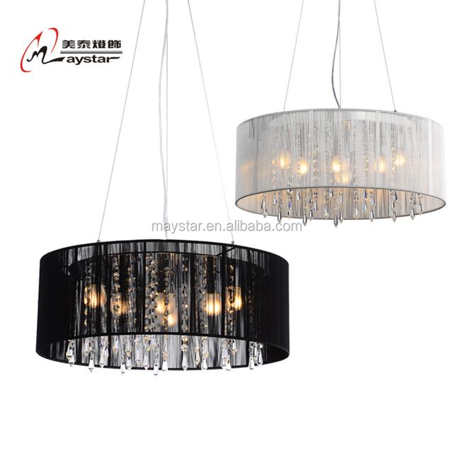 High Quality Fabric Thread Round Pendnt Light Black /White Fabric Pendant Lamp Modern Style