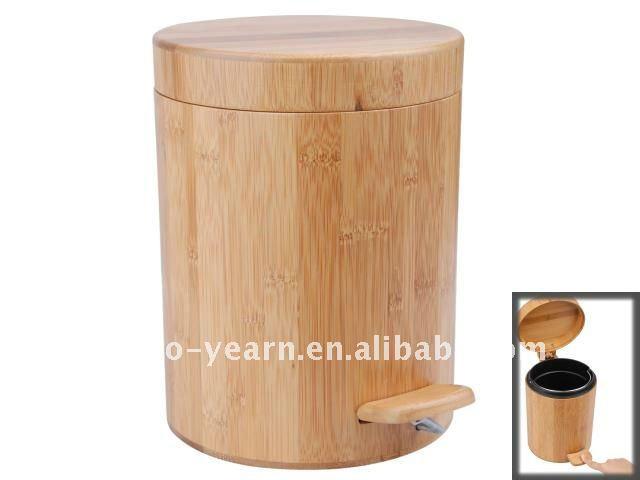 Bambou En Bois Cylindre Poubelle Poubelle Corbeille Ordures Cendres Bin Avec P Dale Flip