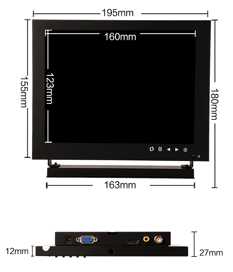 Hot sales LCD 1024*768 cctv monitor 8 inch cctv test monitor for security system