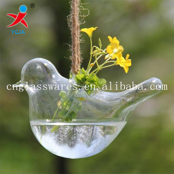 Birds shape decorative glass air plant terrariums glass hanging ornaments