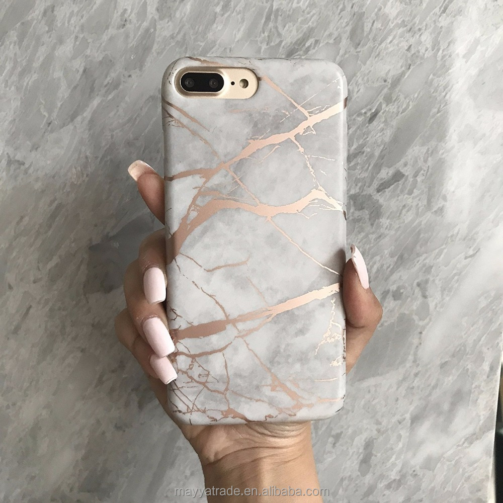 Silicone TPU Bumper Pattern Chrome Marble White Gold Phone Case for iPhone 8 8plus