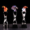 Custom animal figurine colored glass crystal trophy medal