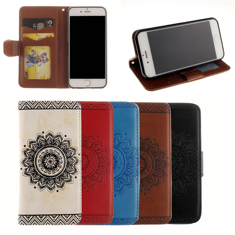 2016 Hot Selling Mandala Pattern Leather Flip Case for iPhone 7 with Stand Function