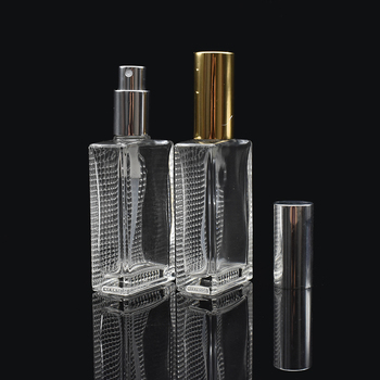 customizable  transparent spray bottle rectangular empty refillable 50ml atomizer perfume glass bottle