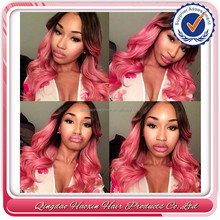 Beautiful brazilian pink human hair curly front lace wig in miami