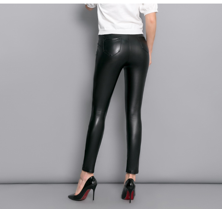 Faux Leather Motorcycle Bikers High Waist Fashion Skinny Pants
