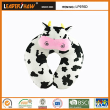 Carton animal shaped neck pillow/Hot sale travel neck pillow with 100% cotton filling