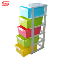 5-tier clothes stackable cabinets storage baby plastic drawer from shantou