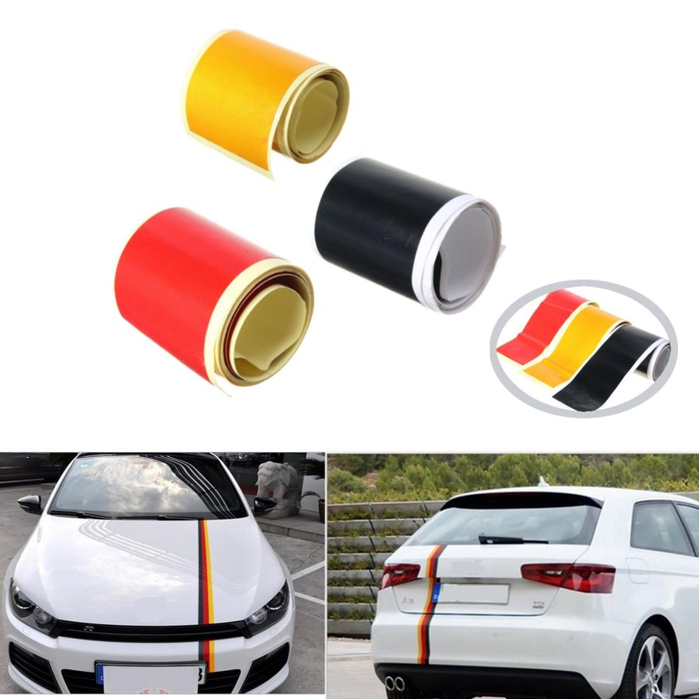 3pcs/lot New Red Yellow Black Car PVC Sticker Germany Flag Stripes Decal Self-adhesive Removable 1 Roll 3.6M