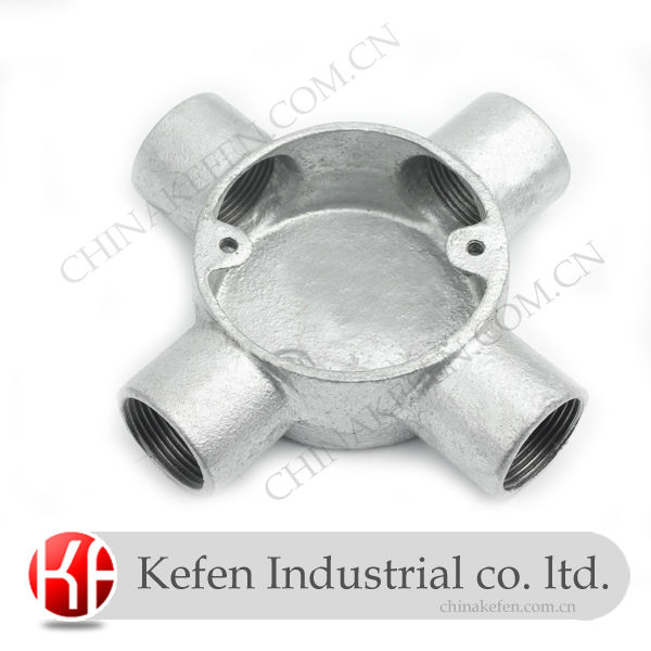 Electrical Malleable Iron Conduit Box & GI conduit accessories &20mm BS4568 galvanized cross box