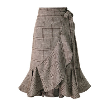 European station 2018 autumn new women's plaid high waist skirt Slim fishtail skirt