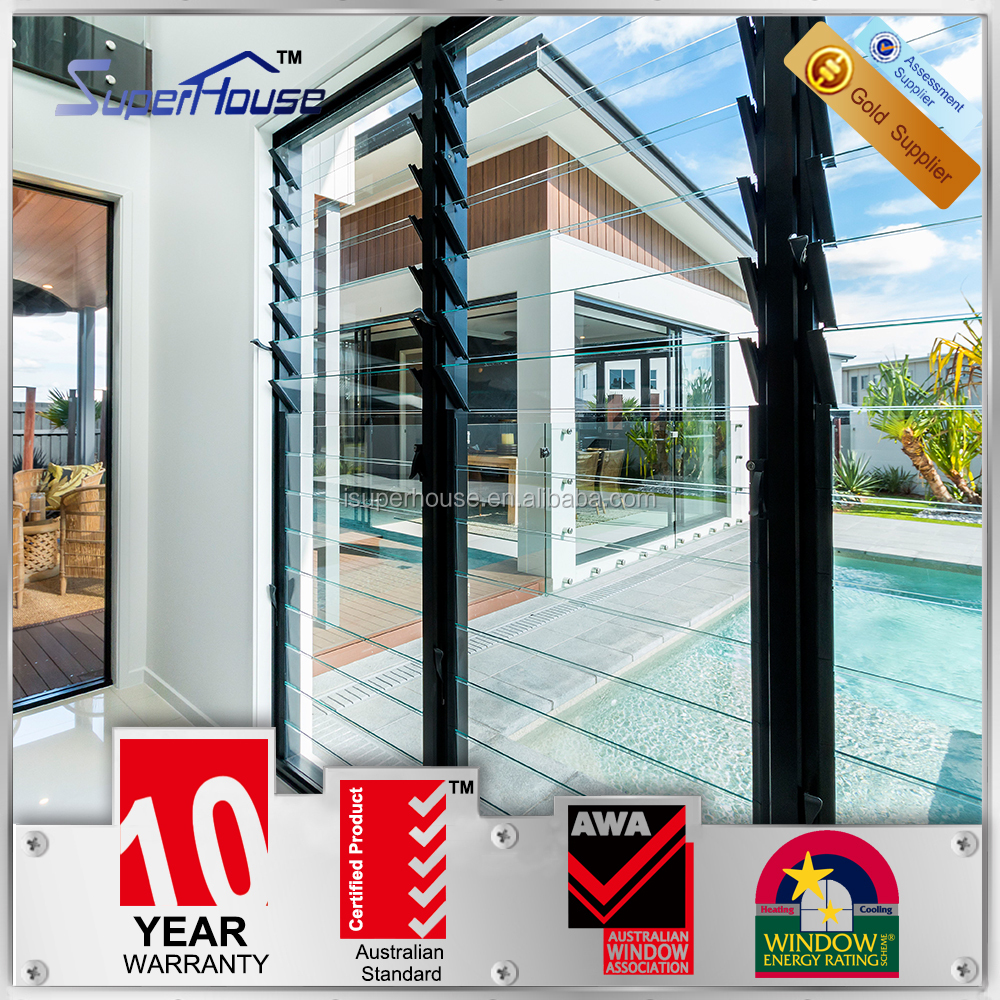 Australia AS2047 standard commercial system adjustable tinted glass aluminium ventilation louvre