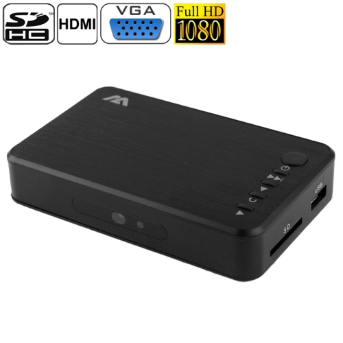 IN STOCK Mini Full HD 1080P Media Player, Support HDD / SD Card / USB Flash Disk / HD MI / VGA Output (MP023)