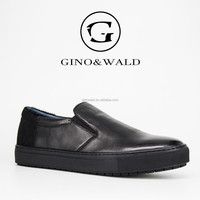 GINOWALD men genuine leather casual sneakers shoes to wear with jeans