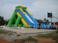 inflatable big slide, water slide, aqua fun on parks, beaches