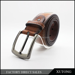 Alloy buckle double stitching niddlepoint cheap mens branded Brushed leather belts