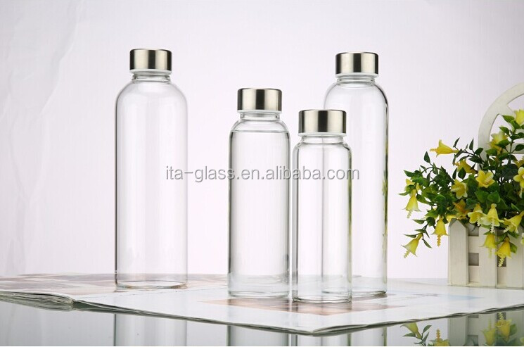 hot sale 300ml/400ml/550ml glass water bottles,glass jars with stainless steel cover