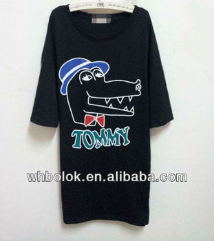 OEM ODM wholesale Women fashion long t shirt printing 100 cotton t shirt