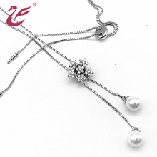 New style custom diamond pendant necklace silver with pearl
