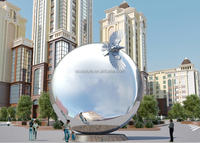 Large Modern Monument Arts Sphere and animals outdoor sculpture or landmark stainless steel sculpture