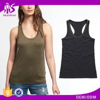 Guangzhou Shandao New Arrivals Casual Summer Sleeveless Round Neck Slim With Pocket Olive Green Cotton Ladies Tops Low Price