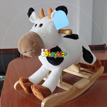 2016 wholesale baby wooden rocking horse with wheels, new design kids cartoon animal wooden rocking horse with wheels W16D107