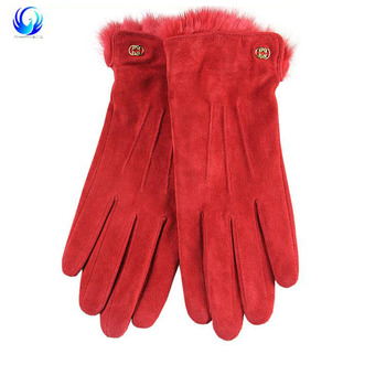 Soft Women Sheep Suede Wool lined leather Gloves with belt