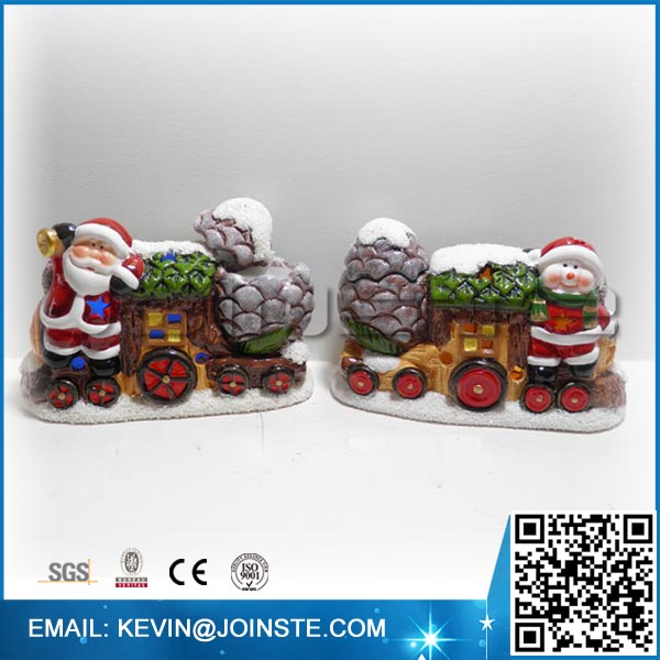 Ceramic outdoor christmas decoration horse carriage
